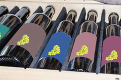 Wine bottles in a wooden box. Royalty Free Stock Photo