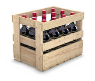 Wine bottles in a wooden crate Stock Image