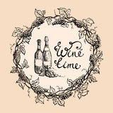 Wine bottles and wreath from grape leaves stock illustration