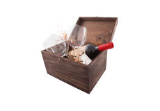 Wine box arrangement for New Year. Brown colored wine gift box arangement for Valentines day or New Year Stock Photos