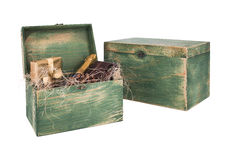Wine box arrangement for New Year. Green colored wine gift box arangement for Christmas and New Year Stock Images