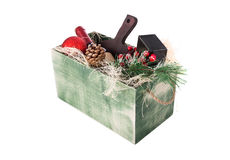Wine box arrangement for New Year. Green colored wine gift box arangement for Christmas and New Year Royalty Free Stock Photo