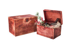 Wine box arrangement for New Year. Red colored wine gift box arangement for Christmas and New Year Stock Photo