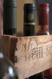 Wine box with bottles Stock Photo