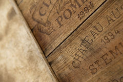 Wine box. Detail of a wooden wine box in a winery Stock Photo