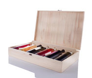 Wine box full of bottles royalty free stock photography