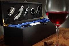 Wine Box Set. A glass of wine served from an elegant wine box Stock Photography