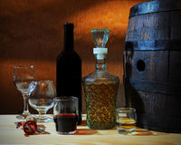 Wine and brandy Stock Photography