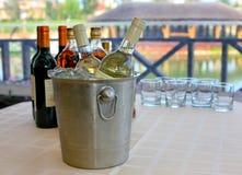 Wine brandy cognac on table Stock Photo