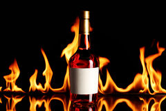 Wine brandy on fire Royalty Free Stock Photos