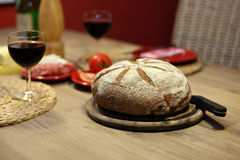 Wine and bread. On a table Stock Photo
