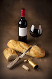 Wine and bread Stock Photography