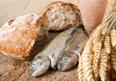 Free Wine Bread And Fish Stock Photography - 12876162
