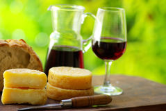 Wine, bread and cheese. royalty free stock photos