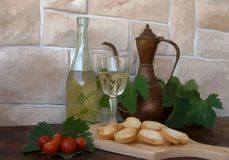 Wine and bread croutons Royalty Free Stock Photography