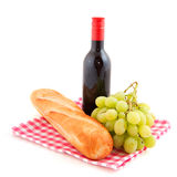 Wine bread and grapes Stock Photo