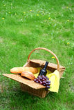 Wine bread and grapes Royalty Free Stock Images