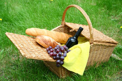 Wine bread and grapes Stock Image