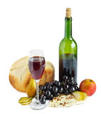 Wine and bread isolated Royalty Free Stock Images