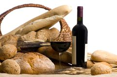 Wine with Bread Isolated on white Stock Images