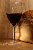 Wine and bread loaf Royalty Free Stock Photography