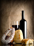 Wine and bread, sausage Stock Images