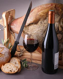 Wine,bread and serrano ham Royalty Free Stock Images