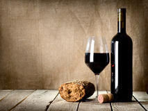Wine and  bread on the table Stock Image