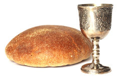 Wine and breadn. Wine and bread for holy communion royalty free stock image