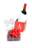 Wine and brownie. Royalty Free Stock Photography