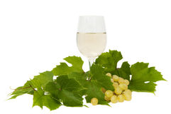 Wine and bunch of grapes Stock Photo