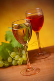 Wine with bunch of grapes Stock Image