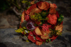 Wine and burgundy colors in a mixed wedding bouquet with mini flame calla lilies, hot red roses and wildflowers. Wedding arrangements, floral display Royalty Free Stock Images