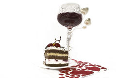 Wine and cake Royalty Free Stock Image