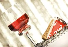 Wine and cake Stock Photography