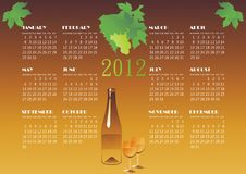 Wine calendar. Grape wine calendar vector illustration Stock Image