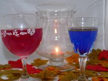 Wine by candle light. Two glasses of wine one red other blue set among Autumn colourful leaves with a glowing candle Stock Images