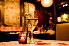 Wine candle restaurant Stock Images