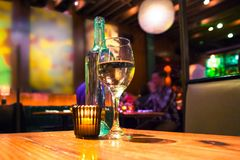 Wine candle restaurant Stock Photography