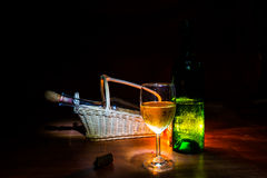 Wine  and candle Royalty Free Stock Photo