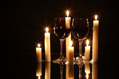 Wine And Candles Stock Photos