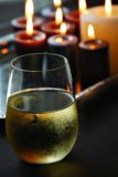 Wine and candles Stock Photo