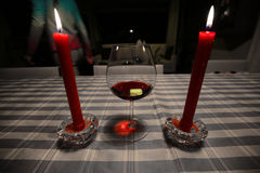 Wine and candles Stock Image