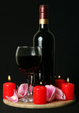 Wine and candles Royalty Free Stock Images