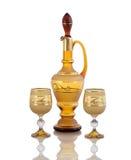 Wine carafe glass  on white backround. Wine carafe glass and two glasses  on white backround Stock Photo