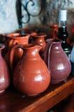 Wine carafes. Wine ceramic carafes at shelf Stock Photo