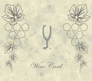 Wine card with abstract glass menu restaraunt Stock Photos