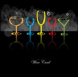 Wine card background alcohol drink glass. Vector Stock Photography