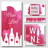 Wine cards design template. Vector flyer for wine bar, wine shop with watercolor splash and bottles. Wine cards design template. Vector flyer collection Royalty Free Stock Photography