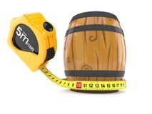 Wine cask with measuring tape. Isolated on white background. 3d illustration vector illustration